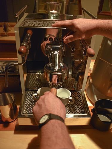 Espresso machine closeup