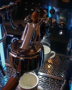 Espresso machine close up with an acorn